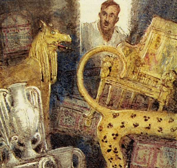 Howard Carter discovered the lost burial chamber of Tutankhamen (colour litho)
