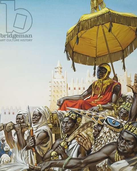 Mansa Kankan Musa I, 14th century king of the Mali empire (gouache on paper)