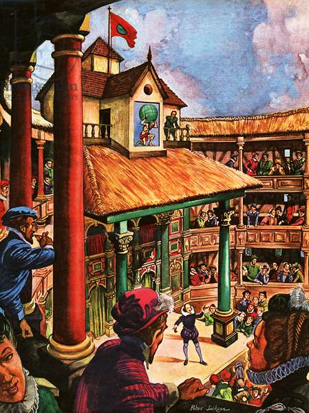 Shakespeare performing at the Globe Theatre