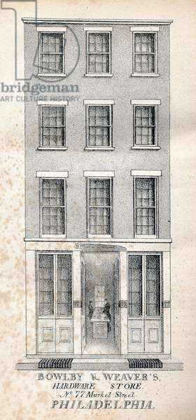 Bowlby & Weaver's hardware store No.77 Market Street Philadelphia, printed by Kennedy & Lucas's Lithography, 1831 (litho)