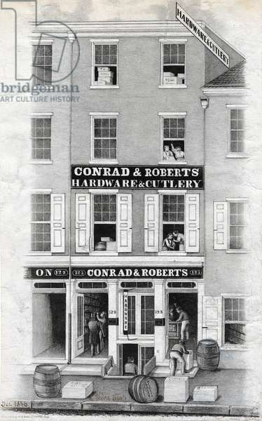 Conrad & Roberts hardware & cutlery, 123 N. Third Street, Philadelphia, printed by Wagner & M'Guigan, December 1846 (litho)