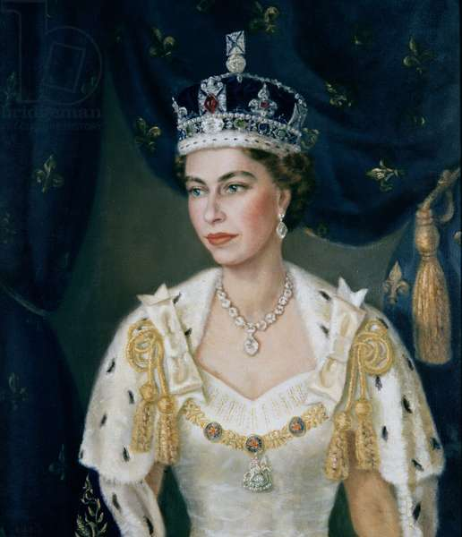 Portrait of Queen Elizabeth II wearing coronation robes and the Imperial State Crown