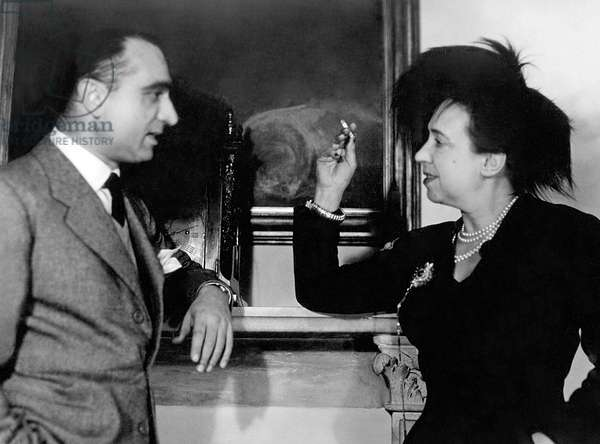 Luigi Barzini and Elsa Schiaparelli, c.1950 (b/w photo)