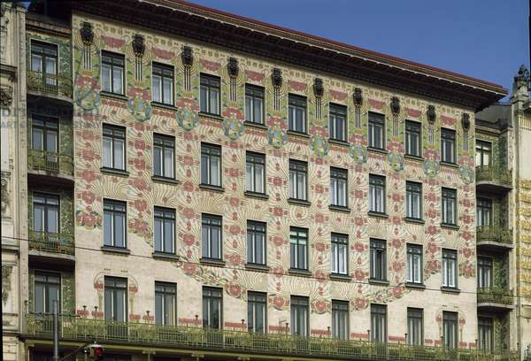 Exterior of the Majolikahaus, designed by Otto Wagner and decorated by Gustav Klimt (photo)