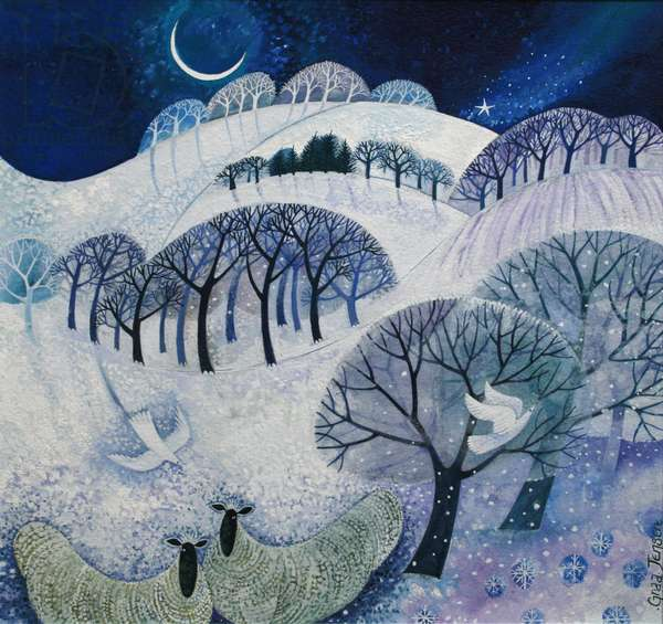Snowy Night (acrylic ink)