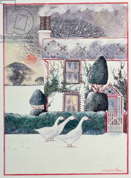 Christmas Cottage,1985, (w/c)