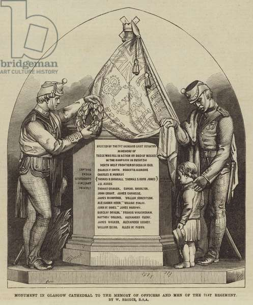 Monument in Glasgow Cathedral to the Memory of Officers and Men of the 71st Regiment, by W Brodie, RSA (engraving)