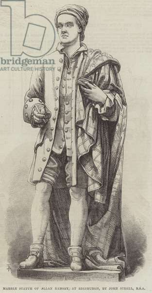 Marble Statue of Allan Ramsay, at Edinburgh, by John Steell, RSA (engraving)
