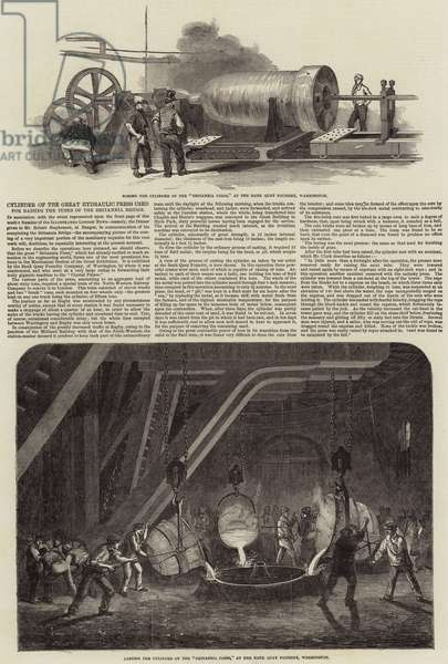 Cylinder of the Great Hydraulic Press used for raising the Tubes of the Britannia Bridge (engraving)