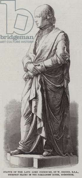 Statue of the late Lord Cockburn, by W Brodie, RSA, recently placed in the Parliament House, Edinburgh (engraving)