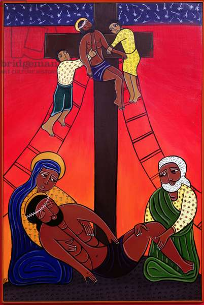 Jesus is Taken from the Cross and Laid in His Mother's Arms, no. 13 in '14 Stations of the Cross' series, 2002 (acrylic on canvas) (see also 192720-731, 192733)