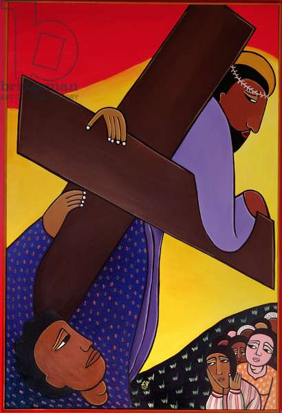 Simon the Cyrene Helps Jesus Bear His Cross, no. 5 in '14 Stations of the Cross' series, 2002 (acrylic on canvas) (see also 192720-723, 192725-733)