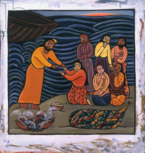Feeding of the Five Thousand (acrylic on canvas)