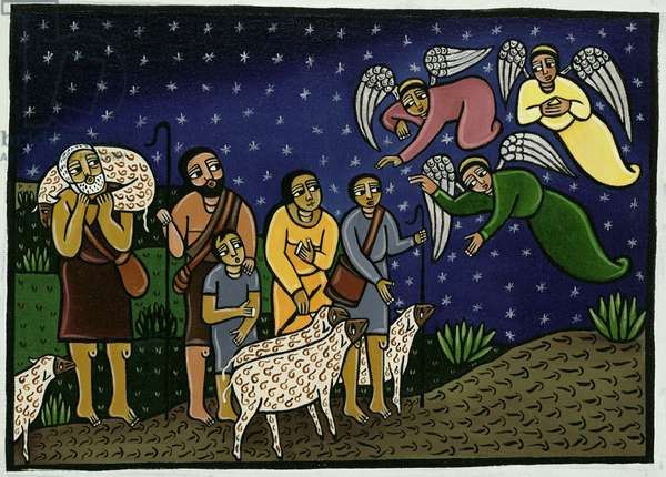 The Annunciation to the Shepherds (acrylic on canvas)