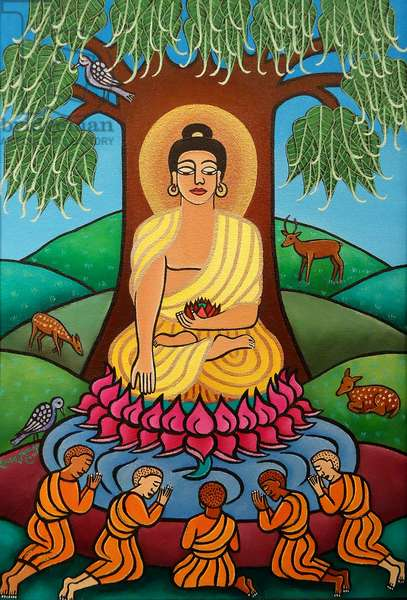 Buddha in Deer Park, 2010 (acrylic on canvas)