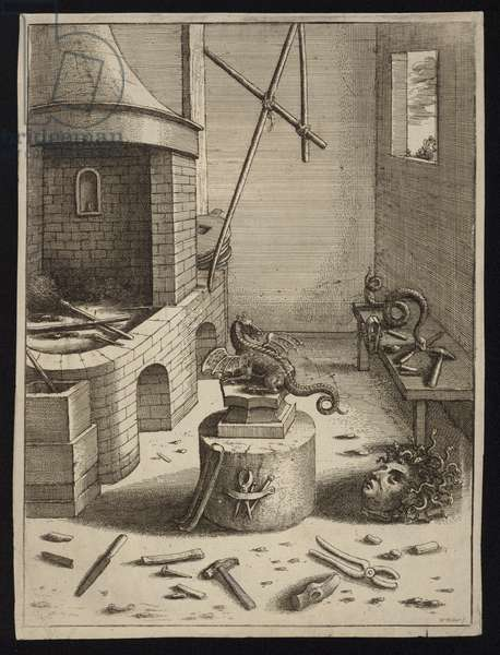 A sculptor's studio with the severed head of Medusa lying on the ground (engraving)