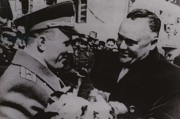 Academician Sergei Korolev, the chief Soviet rocket engineer, meeting cosmonaut Yuri Gagarin after his successful flight on board Vostok 1 on 12 April 1961 (b/w photo)