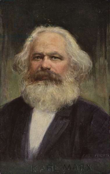 Karl Marx (1818-1883), German philosopher, economist, historian and political theorist (colour litho)