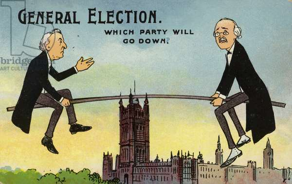General Election. Which party will go down? (colour litho)
