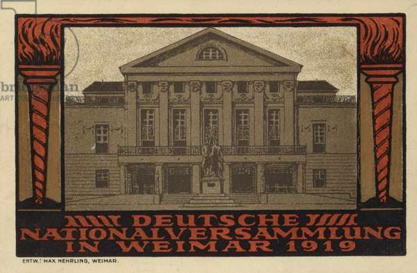 National Assembly, Weimar, Germany, 1919 (colour litho)