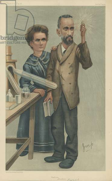 Mr Pierre and Mrs Marie Curie (colour litho)