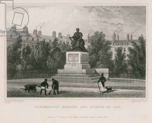 Bloomsbury Square, and statue of Fox (engraving)