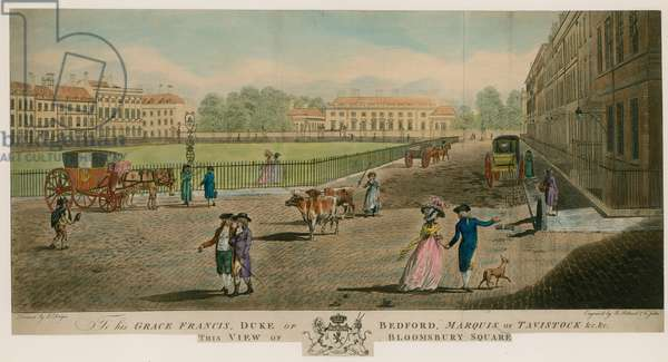 Bloomsbury Square, London (coloured engraving)
