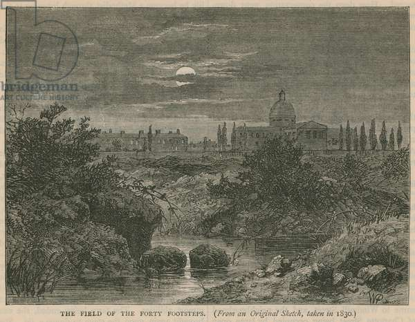 The field of the forty footsteps, Bloomsbury (engraving)