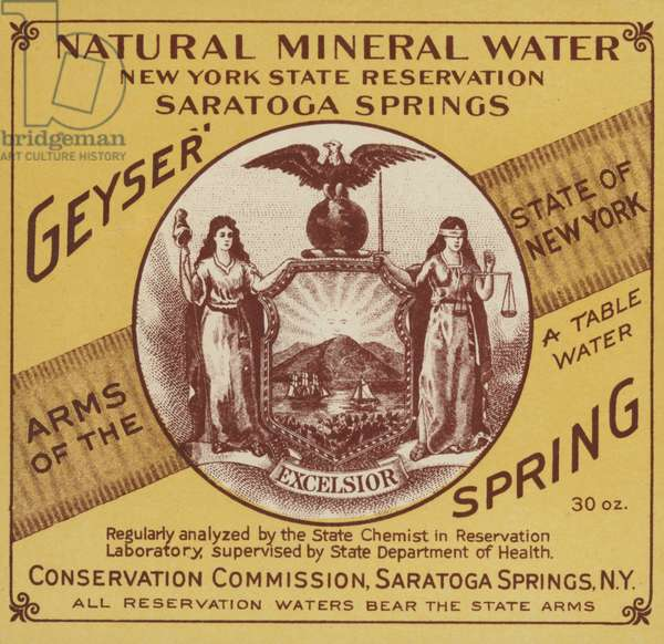 Natural Mineral Water, New York State Reservation, Saratoga Springs (chromolitho)