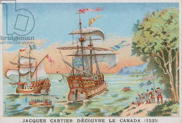 Jacques Cartier discovering Canada, 1535 (chromolitho)
