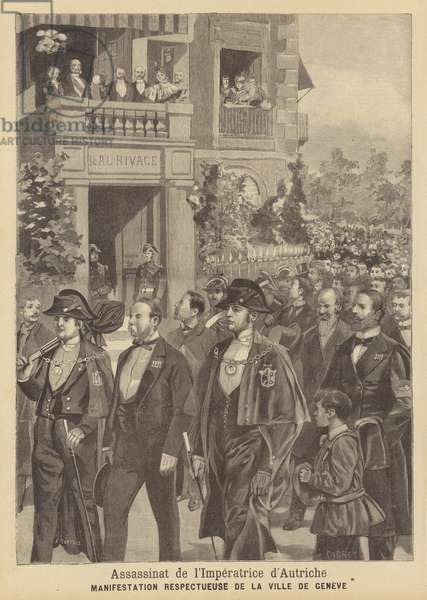 Demonstration in honour of the assassinated Empress Elisabeth of Austria in Geneva (litho)