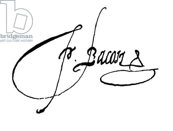 Francis Bacon, signature (engraving)