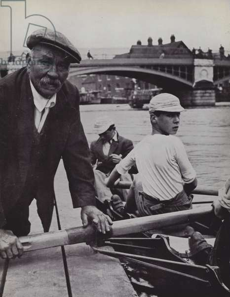 Rafts, Eton, Froggie superintends the embarkation (b/w photo)