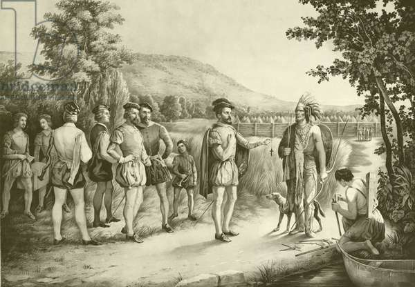 Jacques Cartier, his first interview with the Indians at Hochelaga now Montreal in 1535, c.1850 (litho)
