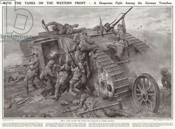 With the tanks on the Western Front (litho)