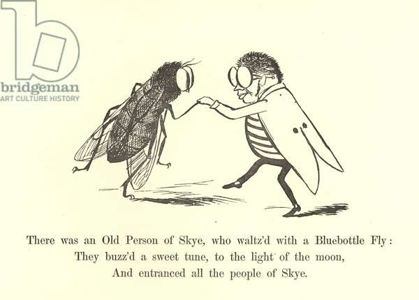 There was an Old Person of Skye, who waltz'd with a Bluebottle Fly (litho)