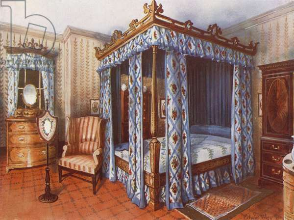 A Hepplewhite Bedroom. Chintz-Curtained Inlaid Satinwood Bed. Inlaid Satinwood Dressing Chest and Mahogany Wardrobe