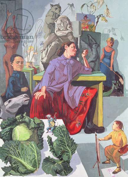 The Artist in Her Studio, 1993 (acrylic on canvas)