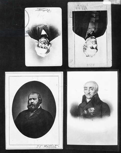 Four portraits including Jean-Francois Millet (1815-75) (b/w photo)