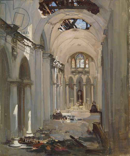 Cathedral Interior (oil on canvas)