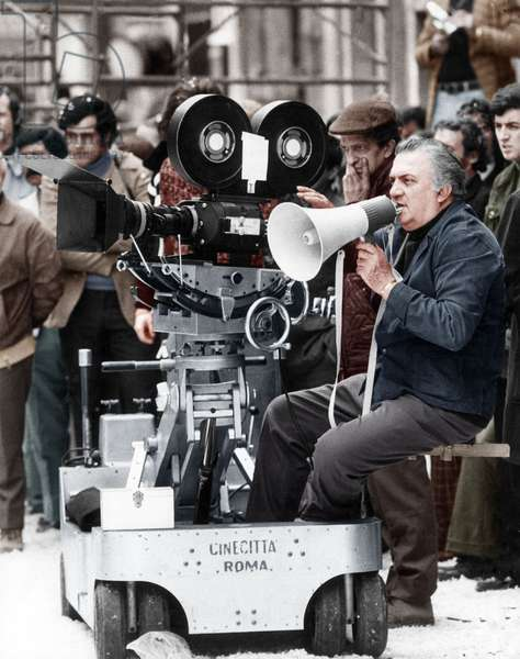 Federico Fellini on the set, Rome, Italy