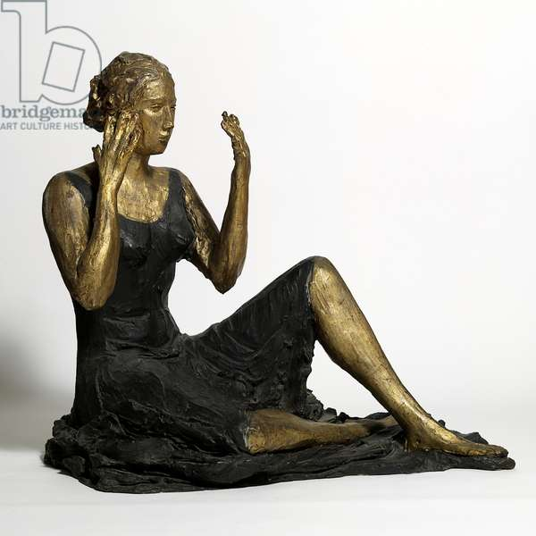 Young Woman Seated (Signorina seduta), by Lucio Fontana, 1934, 20th Century, bronze colored, 84 ? 103 ? 83 cm