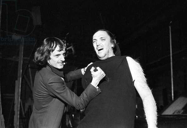 Dario Argento on the set of Suspiria, Italy, 1977 (b/w photo)