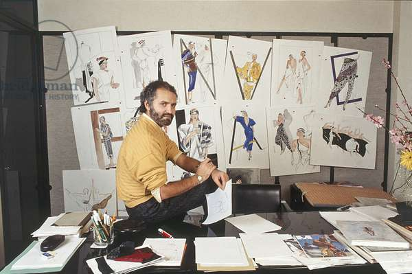Gianni Versace in his study, Italy