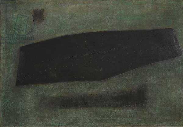Spatial Concept - The Coffin of the Sailor (Concetto spaziale - La bara del marinaio), by Lucio Fontana, 1957, pastels, collage and holes on canvas, 114 ? 164 cm