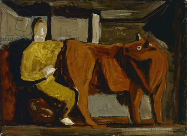 Stable Interior (Interno di stalla), by Arturo Martini, 1941, 20th Century, oil on canvas