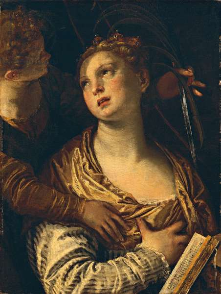 Saint Catherine with an angel (Santa Caterina con un angelo), by Paolo Caliari known as Veronese, 1580, 16th Century, oil on board, 72 x 54 cm