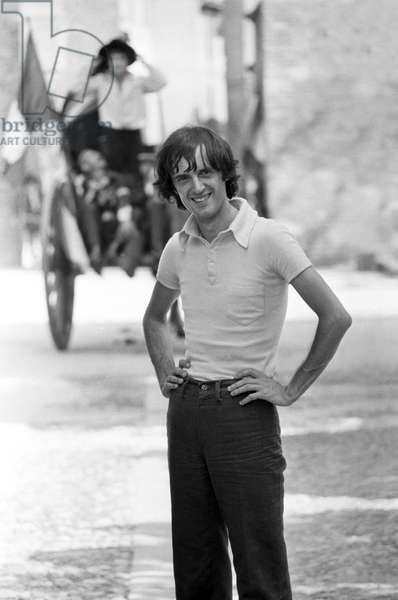 Dario Argento on the set of The Five Days, Italy, 1973 (b/w photo)