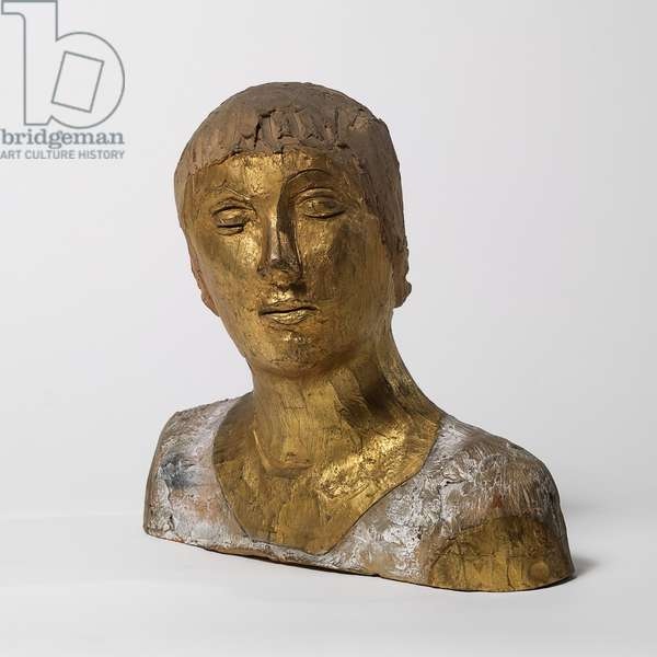 Female Bust (Busto femminile), by Lucio Fontana, 1931, 20th Century, terracotta, painted and incised, 29,5 x 34 cm