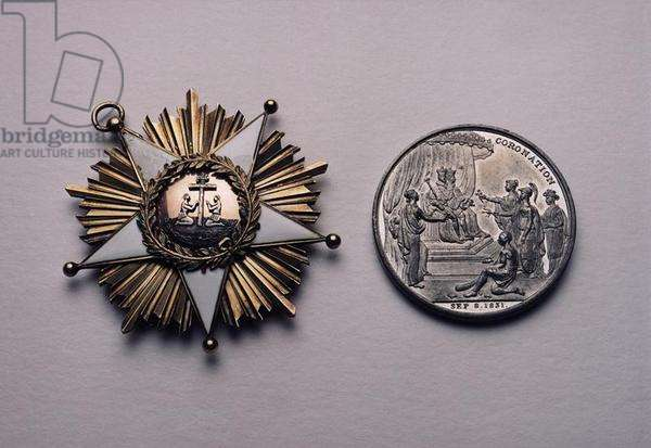 Two medals commemorating the coronation of William IV (1765-1837) in 1831, made by Thomas Halliday, 1831 (white metal)